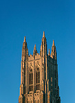 Exteriors of the Duke Chapel during golden hour.