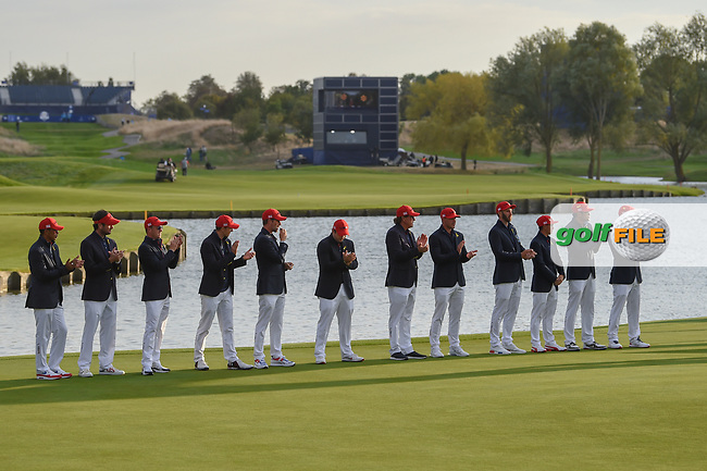 Team USA stands assembled for the Ryder Cup trophy presentation following Sunday's singles of the 2018 Ryder Cup, Le Golf National, Guyancourt, France. 9/30/2018.<br /> Picture: Golffile | Ken Murray<br /> <br /> <br /> All photo usage must carry mandatory copyright credit (© Golffile | Ken Murray)