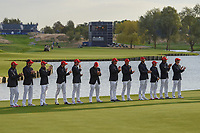 Team USA stands assembled for the Ryder Cup trophy presentation following Sunday's singles of the 2018 Ryder Cup, Le Golf National, Guyancourt, France. 9/30/2018.<br /> Picture: Golffile | Ken Murray<br /> <br /> <br /> All photo usage must carry mandatory copyright credit (&copy; Golffile | Ken Murray)