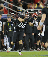 Stanford, Ca - Friday, November 30, 2012: Stanford won the Pac 12 Championships 27-24 over UCLA at Stanford University. Zach Ertz catches a pass.