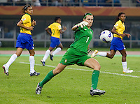 Brazil goalkeeper (1) Andreia. Brazil defeated Australia, 3-2 during the quarterfinals of the FIFA Women's World Cup at Tianjin Olympic Center Stadium in Tianjin, China on September 23, 2007.