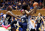 21 February 2016: Duke's Amber Henson (right) pulls a rebound away from Georgia Tech's Imani Tilford (0) as Zaire O'Neil (left) trail the play. The Duke University Blue Devils hosted the Georgia Tech Yellow Jackets at Cameron Indoor Stadium in Durham, North Carolina in a 2015-16 NCAA Division I Women's Basketball game. Georgia Tech won the game 64-59.