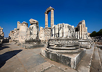 Picture of the Ionian columns of the ruins of the Ancient Ionian Greek  Didyma Temple of Apollo & home to the Oracle of Apollo.  Also known as the Didymaion completed circa 550 BC. modern Didim in Aydin Province, Turkey.