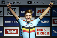 Picture by Richard Blaxall/SWpix.com - 27/09/2018 - Cycling 2018 Road Cycling World Championships Innsbruck-Tiriol, Austria - Men's Junior Road Race - Remco Evenepoel of Belgium celebrates on the podium.