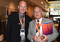Neil Emblen and Guest. Official Draw for the FIFA U 20 Football World Cup, New Zealand 2015. Sky City, Auckland. Tuesday 10 February 2015. Copyright photo: Andrew Cornaga / www.photosport.co.nz