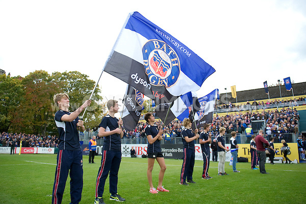 A general view of the pre-match Guard of Honour. Aviva Premiership match, between Bath Rugby and Exeter Chiefs on October 17, 2015 at the Recreation Ground in Bath, England. Photo by: Patrick Khachfe / Onside Images