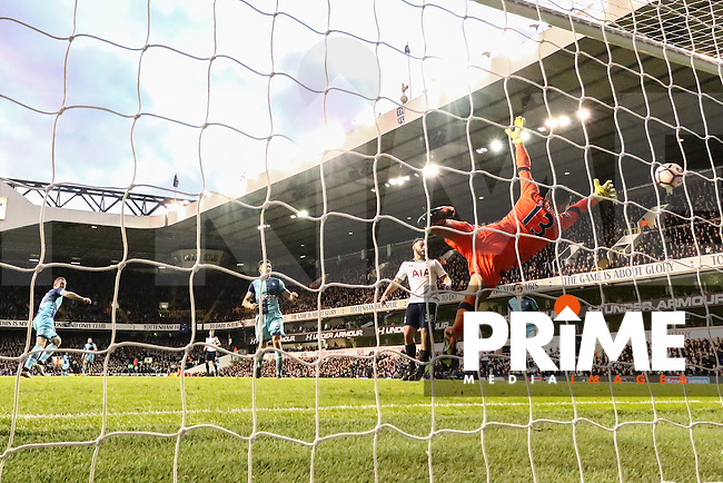 Garry Thompson of Wycombe Wanderers (left) scores his team's third goal of the game to make the score 2-3 during the FA Cup 4th round match between Tottenham Hotspur and Wycombe Wanderers at White Hart Lane, London, England on 28 January 2017. Photo by PRiME Media Images / David Horn.