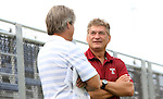 09 September 2014: Temple head coach David MacWilliams (right) with Duke head coach John Kerr (left). The Duke University Blue Devils hosted the Temple University Owls at Koskinen Stadium in Durham, North Carolina in a 2014 NCAA Division I Men's Soccer match. Duke won the game 3-1.