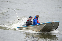 Mortlake/Chiswick, GREATER LONDON. United Kingdom Oxford University Women's Boat  Club, OUWBC vs Molesey BC,  Pre Boat Race Fixture, 2017 Boat Race, The Championship Course, Putney to Mortlake on the River Thames.<br /> Molesey BC. Coaching Launch. Chief Coach, Phil BOURGUIGNON. <br /> <br /> Sunday  19/03/2017<br /> <br /> [Mandatory Credit; Peter SPURRIER/Intersport Images]