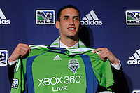 Seattle Sounders second round pick Mike Seamon (Villanova) during the MLS SuperDraft at the Pennsylvania Convention Center in Philadelphia, PA, on January 14, 2010.