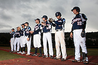 23 October 2010: From right to left: Romain Scott-Martinez, Chris Goniot, Pierrick Lemestre, Tim Stewart, Florian Peyrichou, Sebastien Boyer, Jerome Dussart, Fabien Proust, are seen during the players introduction prior to Savigny 8-7 win (in 12 innings) over Rouen, during game 3 of the French championship finals, in Rouen, France.