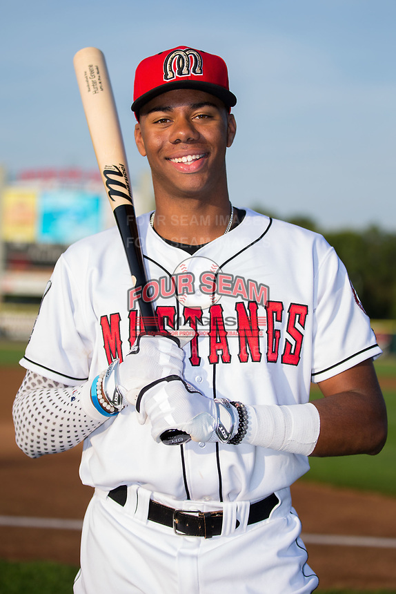 Hunter Greene (49) of the Billings Mustangs poses for a photo prior to the game against the Missoula Osprey at Dehler Park on August 21, 2017 in Billings, Montana.  The Osprey defeated the Mustangs 10-4.  (Brian Westerholt/Four Seam Images)