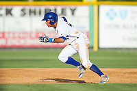 Marten Gasparini (44) of the Burlington Royals takes off for second base against the Greeneville Astros at Burlington Athletic Park on June 29, 2014 in Burlington, North Carolina.  The Royals defeated the Astros 11-0. (Brian Westerholt/Four Seam Images)
