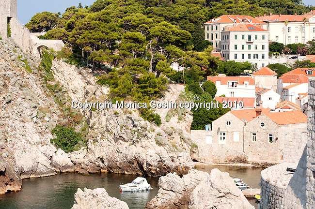 Dubrovnik, Croatia as seen from Fort Bokar of the old city wall and with Fort Lovrijenac on the left.
