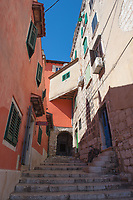 A narrow staircase in the town of Rovinj, Istria County, Croatia