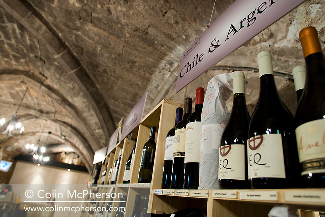 An interior view of Corks Out in Watergate Street, Chester, a wine merchant run by proprietor Richard Depledge. The business is housed in a cellar which dates back several hundred years and is located in the city's historic centre..