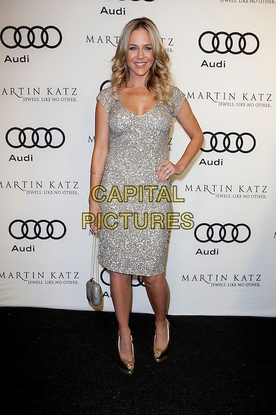 Julie Benz.Audi And Martin Katz Kick Off Golden Globes Week 2012 Held At Cecconi's Restaurant, West Hollywood, California, USA..January 8th, 2012.full length dress hand on hip gold shoes silver sequins sequined smiling embellished jewel encrusted .CAP/ADM/ES.©Emiley Schweich/AdMedia/Capital Pictures.