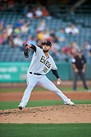 Salt Lake Bees starting pitcher Patrick Sandoval (30) delivers a pitch to the plate against the Round Rock Express at Smith's Ballpark on June 10, 2019 in Salt Lake City, Utah. The Bees defeated the Express 9-7. (Stephen Smith/Four Seam Images)
