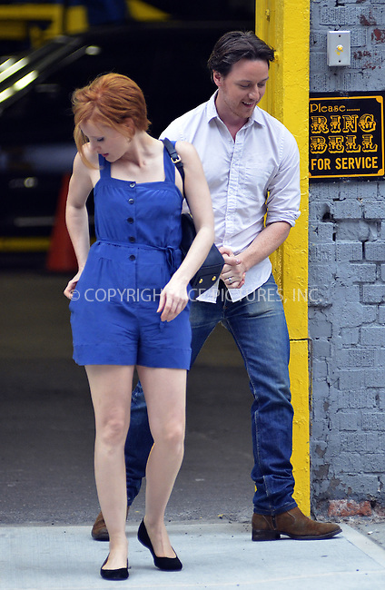 WWW.ACEPIXS.COM....July 13, 2012, New York City....Actors James McAvoy and Jessica Chastain on the set of the new movie 'The disappearance of Eleanor Rigby' on July 13 2012 in New York City....By Line: Curtis Means/ACE Pictures....ACE Pictures, Inc..Tel: 646 769 0430..Email: info@acepixs.com