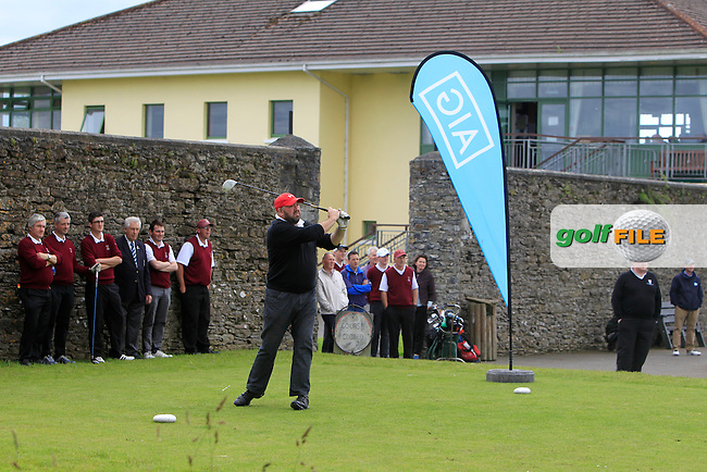 Liam Downey (Ballykisteen) on the 1st tee during the Final round of the Munster section of the AIG Jimmy Bruen Shield at East Clare Golf Club on Sunday 19th July 2015.<br /> Picture:  Golffile   Thos Caffrey