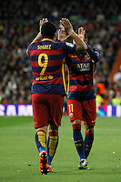 Barcelona´s Luis Suarez celebrates a goal with Neymar Jr during 2015-16 La Liga match between Real Madrid and Barcelona at Santiago Bernabeu stadium in Madrid, Spain. November 21, 2015. (ALTERPHOTOS/Victor Blanco) /NortePhoto