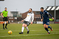 7th March 2020; Somerset Park, Ayr, South Ayrshire, Scotland; Scottish Championship Football, Ayr United versus Dundee FC; Michael Moffat of Ayr United passes away from Graham Dorrans of Dundee
