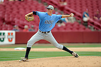 Relief pitcher Ryan Yarbrough (25) of the Old Dominion Monarchs in an NCAA Division I Baseball Regional Tournament game against the Maryland Terrapins on Friday, May 30, 2014, at Carolina Stadium in Columbia, South Carolina. Maryland won, 4-3. (Tom Priddy/Four Seam Images)