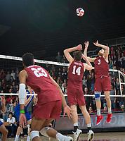 STANFORD, CA - March 2, 2019: Paul Bischoff, Kyler Presho, Jaylen Jasper at Maples Pavilion. The Stanford Cardinal defeated BYU 25-20, 25-20, 22-25, 25-21.