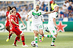 VfL Wolfsburg's Lara Dickenmann (c) and Nilla Fischer (r) and Olympique Lyonnais' Eugenie Le Sommer during UEFA Women's Champions League 2015/2016 Final match.May 26,2016. (ALTERPHOTOS/Acero)