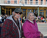 Damon and Dee during the World Championship Outhouse Races in Virginia City, Nevada on Sunday, Oct. 8, 2017.
