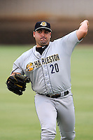 Pitcher Omar Luis (20) of the Charleston RiverDogs warms up before a game against the Kannapolis Intimidators on Saturday, June 28, 2014, at CMC-Northeast Stadium in Kannapolis, North Carolina. Kannapolis won, 4-3. (Tom Priddy/Four Seam Images)