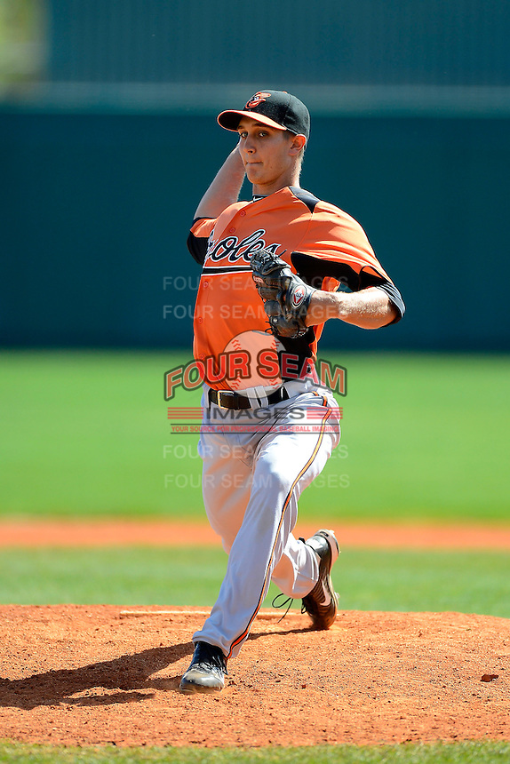 Baltimore Orioles pitcher Gene Escat (69) during a minor league Spring Training game against the Atlanta Braves at Al Lang Field on March 13, 2013 in St. Petersburg, Florida.  (Mike Janes/Four Seam Images)