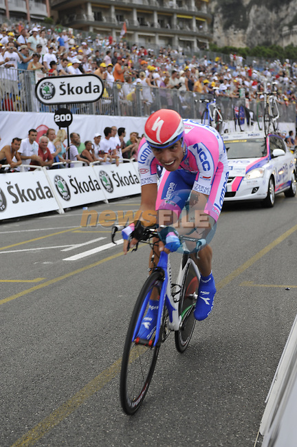 Lampre-N.G.C. team rider Alessandro Ballan (ITA) passes beneath the packed grandstands on his way to the finish line the Prologue Stage 1 of the 2009 Tour de France a 15.5km individual time trial held around Monaco. 4th July 2009 (Photo by Eoin Clarke/NEWSFILE)