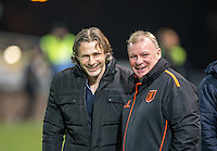 Wycombe Wanderers Manager Gareth Ainsworth & Mansfield Town Manager Steve Evans smiles before the The Checkatrade Trophy  Quarter Final match between Mansfield Town and Wycombe Wanderers at the One Call Stadium, Mansfield, England on 24 January 2017. Photo by Andy Rowland.