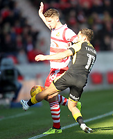 Doncaster Rovers' Jordan Houghton battles with Rotherham United's Jon Taylor<br /> <br /> Photographer Mick Walker/CameraSport<br /> <br /> The EFL Sky Bet League One - Doncaster Rovers v Rotherham United - Saturday 11th November 2017 - Keepmoat Stadium - Doncaster<br /> <br /> World Copyright &copy; 2017 CameraSport. All rights reserved. 43 Linden Ave. Countesthorpe. Leicester. England. LE8 5PG - Tel: +44 (0) 116 277 4147 - admin@camerasport.com - www.camerasport.com
