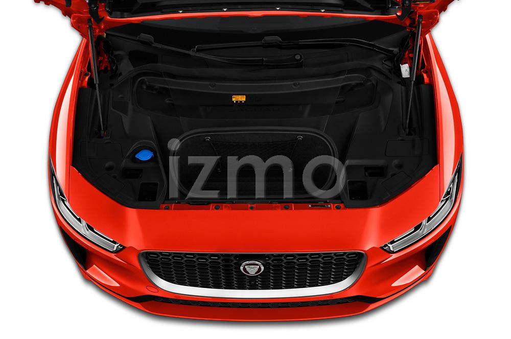 Car stock 2019 Jaguar I Pace HSE 5 Door Hatchback engine high angle detail view