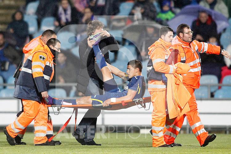 Getafe's Emiliano Velazquez injured during La Liga match. March 18,2016. (ALTERPHOTOS/Acero)