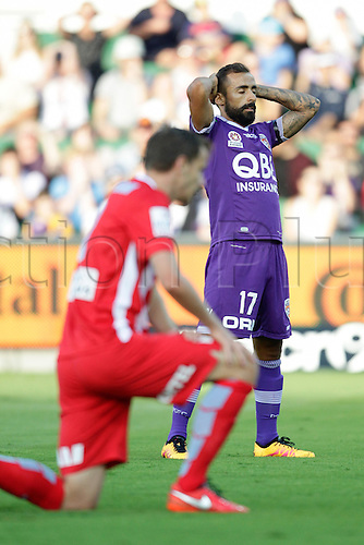 03.04.2016. NIB Stadium, Perth, Australia. Hyundai A League. Perth Glory versus Melbourne City. Diego Castro pnders what could have been Andy Keogh's record breaking goal had it not gone wide of the post.