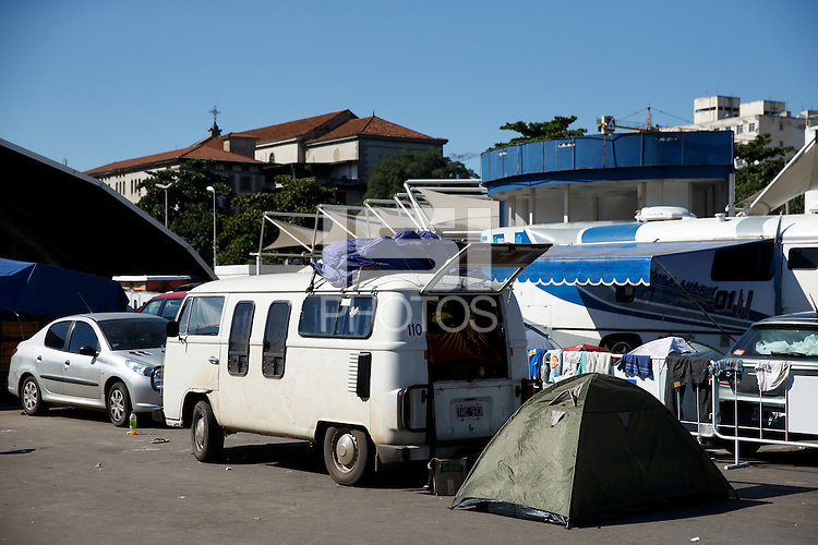 A general view of a make-shift camp site for World Cup fans near Praca Onze in Rio de Janeiro