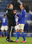 Brendan Rogers manager of Leicester City laughs with Marc Albrighton of Leicester City during the Premier League match at the King Power Stadium, Leicester. Picture date: 9th March 2020. Picture credit should read: Darren Staples/Sportimage