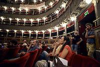 Roma 4 Agosto 2014<br /> <br /> Assemblea nazionale al teatro Valle occupato da lavoratrici e lavoratori dello spettacolo dal 14 Giugno 2011, cui partecipano lavoratori dello spettacolo, attivisti e rappresentanti di realtà simili al teatro Valle occupato, per decidere sullo sgombero del Teatro chiesto dal sindaco di Roma Ignazio Marino, per riconsegnarlo alla sovrintendenza per i lavori di ristrutturazione.<br /> Rome August 4 2014National Assembly  at the Teatro Valle occupied by workers and workers of the show from June 14, 2011, with the participation of workers in the entertainment, activists and representatives of reality similar to the occupied Teatro Valle, for decide on the eviction of the theater asked by the mayor of Rome Ignazio Marino, to return it to the superintendent for renovations.