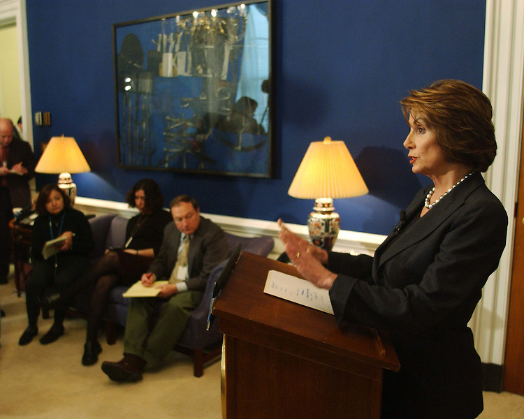 11/19/04.PELOSI WEEKLY NEWS CONFERENCE--House Minority Leader Nancy Pelosi, D-Calif., during her weekly news conference in her office..CONGRESSIONAL QUARTERLY PHOTO BY SCOTT J. FERRELL