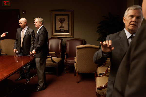 March 26, 2013. Columbia, South Carolina. Sen. Lindsey Graham (2nd from left) heads into a FOX NEWS interview after addressing members of the press on the issue of immigration reform. He was joined by Dr. Jim Goodroe, a state evangelical leader (right), and Hal Stevenson, the owner of Grace Outdoor.. Sen. Lindsey Graham, R- South Carolina, is up for reelection in 2014. He spent some time talking to his base back home about issues such as immigration reform as he readies himself for his campaign run..