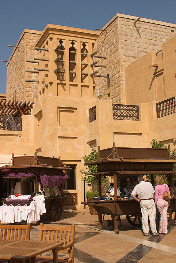 Dubai, United Arab Emirates. Souk at Madinat Jumeirah/Jumeira. European tourists shopping..