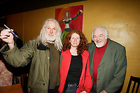Sculptor Armand Vaillancourt (L) and Raymond Levesque (R) at  the Launch of  Marie Marine album. April 25 2006 at Divan Orange in Montreal.<br /> <br /> Marie Marine is the daughter of French Canadian singer Raymond Levesque.<br /> <br /> photo : Roussel  - Images Distribution