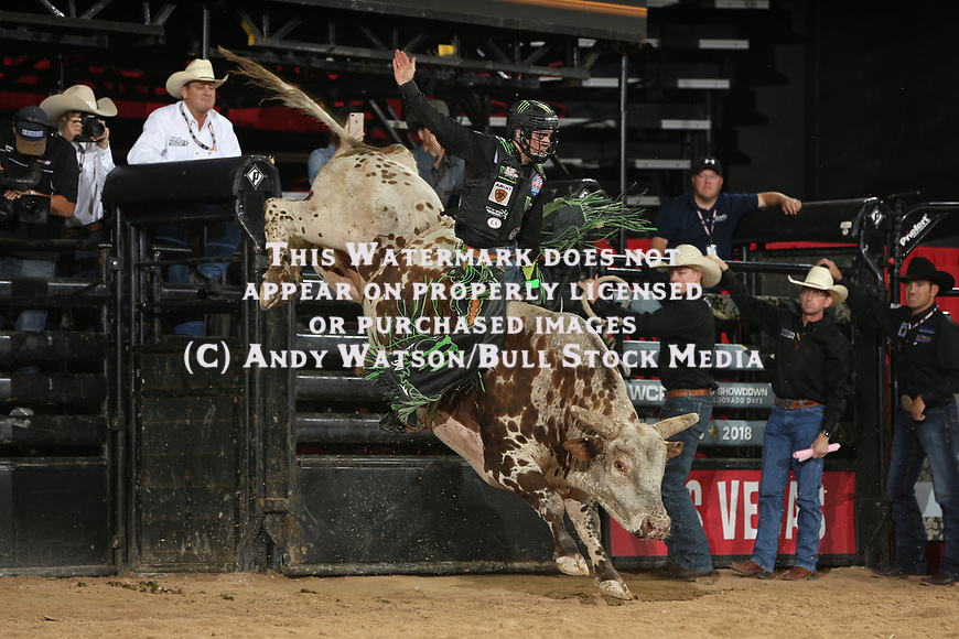 Jose Vitor Leme bucks off his fourth round bull during the second round of the Las Vegas WCRA rodeo. Photo by Andy Watson