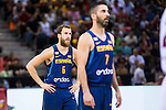 Spain's basketball player Sergio Rodriguez and Juan Carlos Navarro during the  match of the preparation for the Rio Olympic Game at Madrid Arena. July 23, 2016. (ALTERPHOTOS/BorjaB.Hojas)