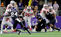 Ohio State Buckeyes running back Mike Weber (25) heads up field on a carry against TCU Horned Frogs during the 2nd quarter of their game at AT&T Stadium at Arlington, Texas on September 15, 2018.  [Kyle Robertson/Dispatch]