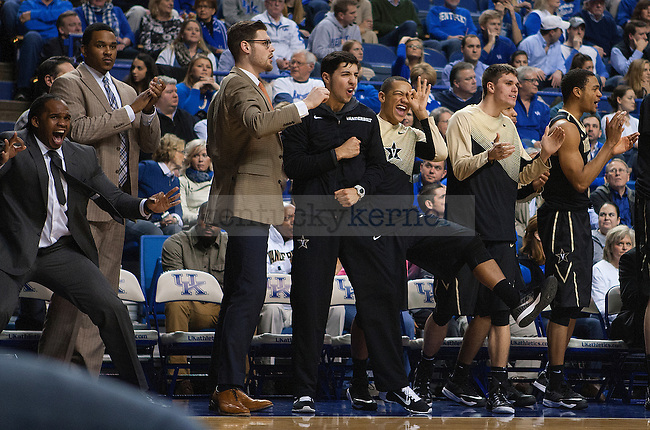 Vanderbilt's bench erupts after another big three is made during second half of the Kentucky game against the Vanderbilt Commodores at Rupp Arena on January 20, 2015 in Lexington, Kentucky. Kentucky defeated Vanderbilt 65-57. Photo by Taylor Pence
