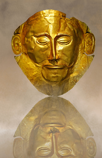 """Gold Death Mask Known as the """"mask of Agamemnon""""  from Grave V, Grave Circle A, Mycenae. The mask is made of a thin sheet of beaten gold & shows a man with a beard. 16th century BC Cat No 624 Athens Archaeological Museum."""